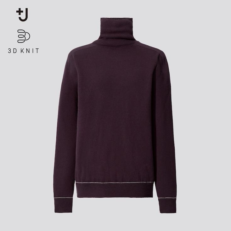 Women +J 3d Knit Cashmere Turtleneck Sweater, Purple, Large