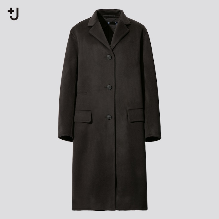Women +J  Cashmere-Blend Chester Coat, Dark Gray, Large