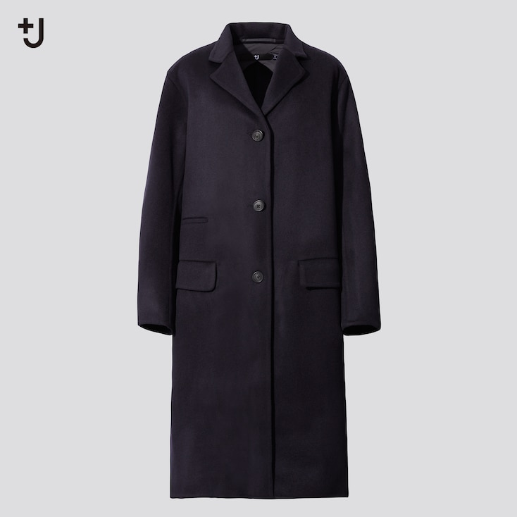 Women +J  Cashmere-Blend Chester Coat, Navy, Large