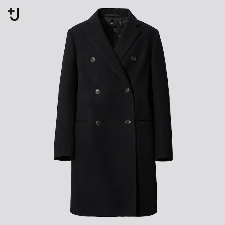 Women +J  Double-Face Double-Breasted Coat, Black, Large