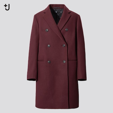Women +J  Double-Face Double-Breasted Coat, Wine, Medium