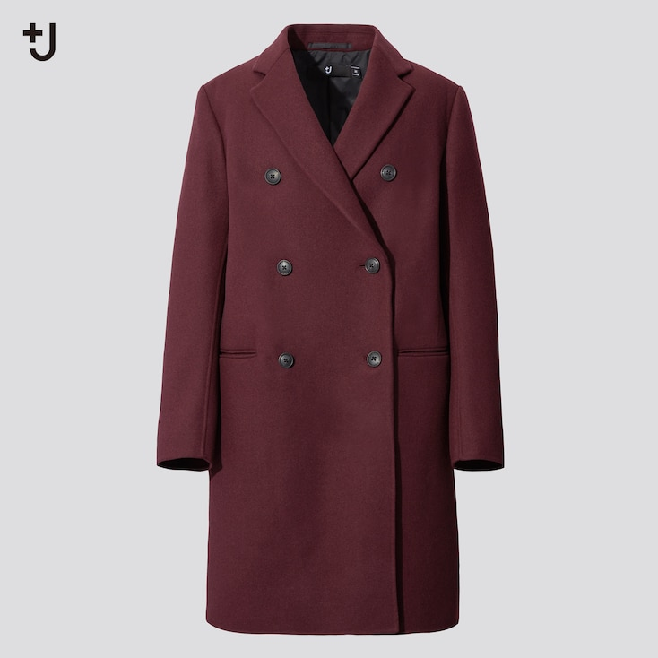 Women +J  Double-Face Double-Breasted Coat, Wine, Large