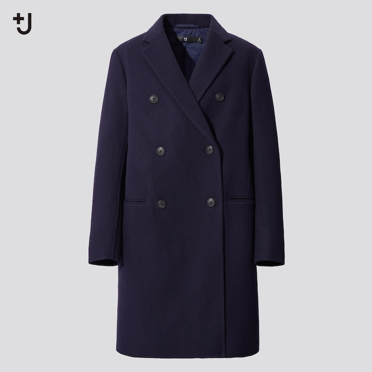 Women +J  Double-Face Double-Breasted Coat, Blue, Large