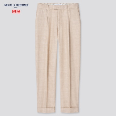 Women Linen Cotton Tucked Tapered Pants (Ines De La Fressange), Beige, Medium