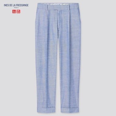 Women Ines Linen Cotton Blend Tucked Tapered Fit Trousers