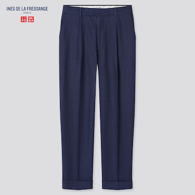Women Linen Cotton Tucked Tapered Pants (Ines De La Fressange), Navy, Medium