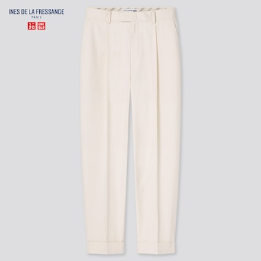 Women Cotton Tucked Tapered Pants (Ines De La Fressange), Off White, Medium