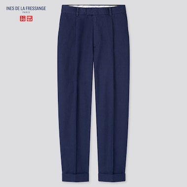 Women Cotton Tucked Tapered Pants (Ines De La Fressange), Blue, Medium