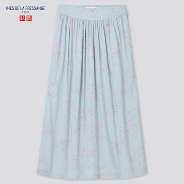 Women Rayon Gathered Skirt (Ines De La Fressange), Blue, Medium