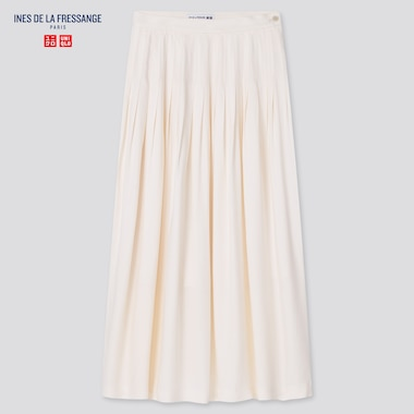 Women Rayon Tucked Skirt (Ines De La Fressange), Off White, Medium
