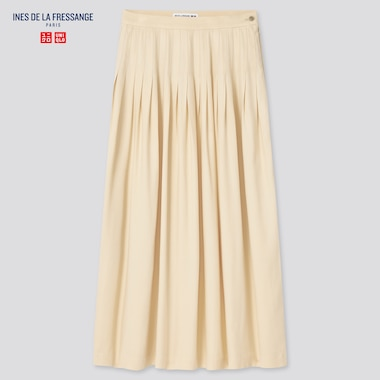 Women Rayon Tucked Skirt (Ines De La Fressange), Beige, Medium