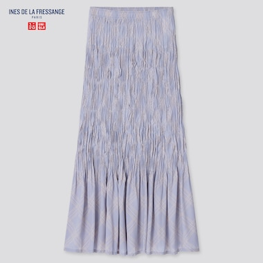 Women Chiffon Twist-Pleated Long Skirt (Ines De La Fressange), Light Purple, Medium
