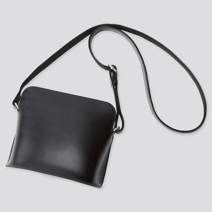 Women Faux Leather Mini Shoulder Bag, Black, Large