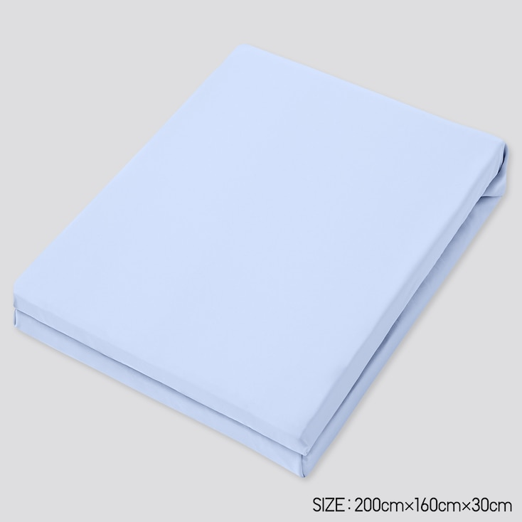 Airism Queen-Size Fitted Bed Sheet, Light Blue, Large