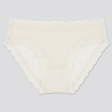 Women Lace Bikini Shorts, Off White, Medium