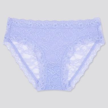 Women Lace Bikini Shorts, Blue, Medium