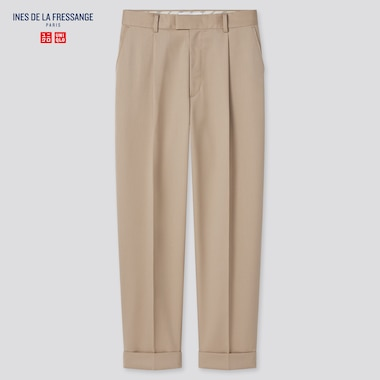 Women Wool-Blend Tucked Tapered Pants (Ines De La Fressange), Khaki, Medium