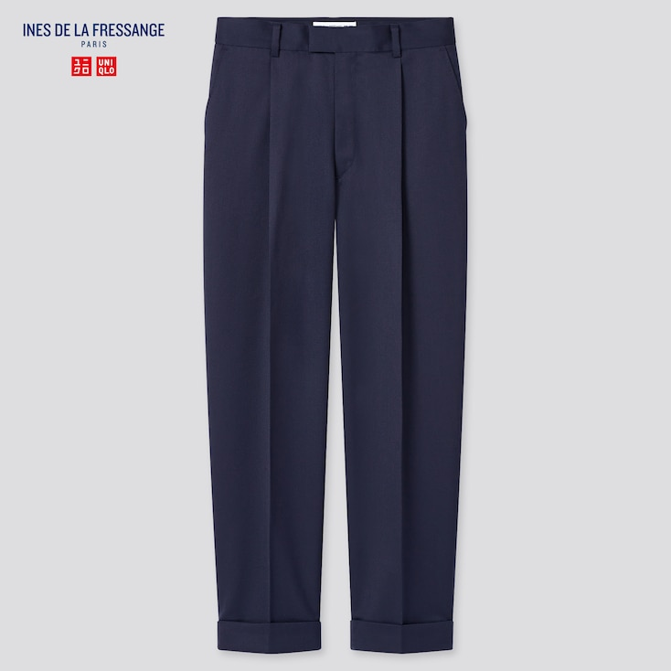 Women Wool-Blend Tucked Tapered Pants (Ines De La Fressange), Navy, Large