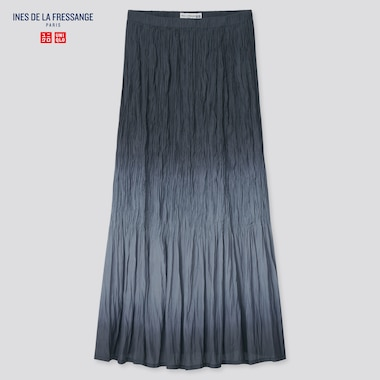 Women Twist-Pleated Long Skirt (Ines De La Fressange), Black, Medium
