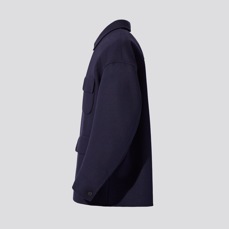 Men +J Double-Face Oversized Work Jacket, Dark Gray, Large