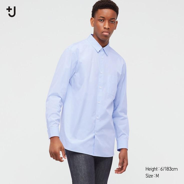 Men +J Supima Cotton Regular-Fit Long-Sleeve Shirt, Blue, Large
