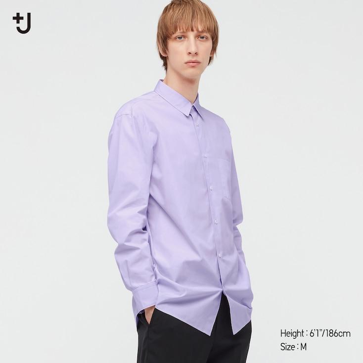 Men +J Supima Cotton Regular-Fit Long-Sleeve Shirt, Purple, Large