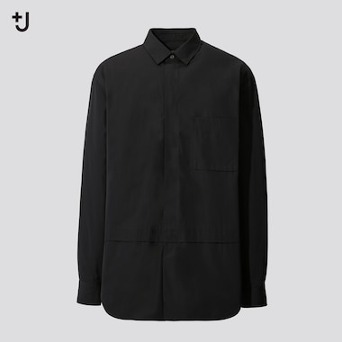 Men +J Supima Cotton Oversized Fit Shirt (Half Button-Down Collar)