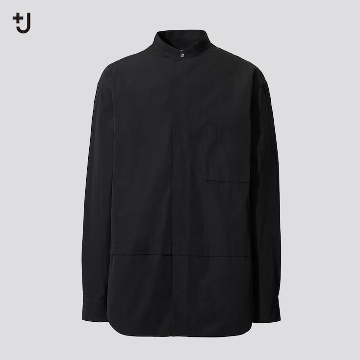 Men +J Supima Cotton Oversized Long-Sleeve Shirt, Black, Large