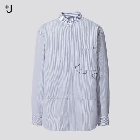 Herren +J Oversize SUPIMA BAUMWOLLE Hemd mit Stehkragen