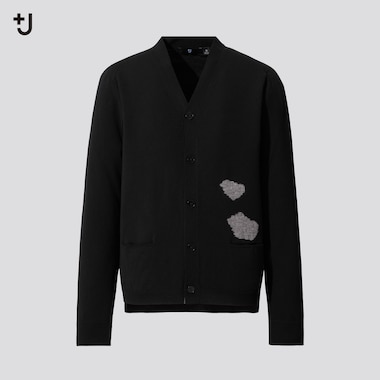 Men +J Merino Blend V Neck Patterned Cardigan