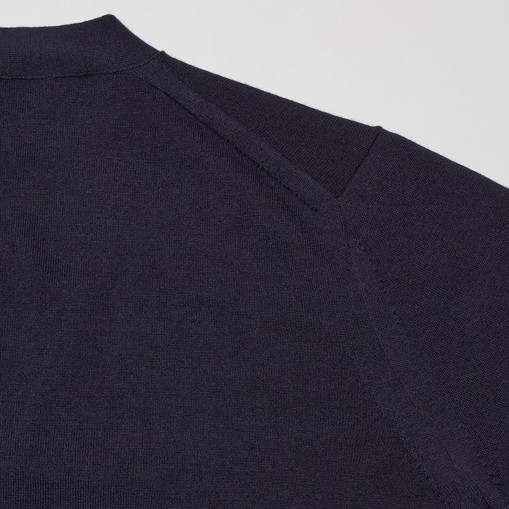 Men +J Merino-Blend V-Neck Long-Sleeve Cardigan, Black, Large