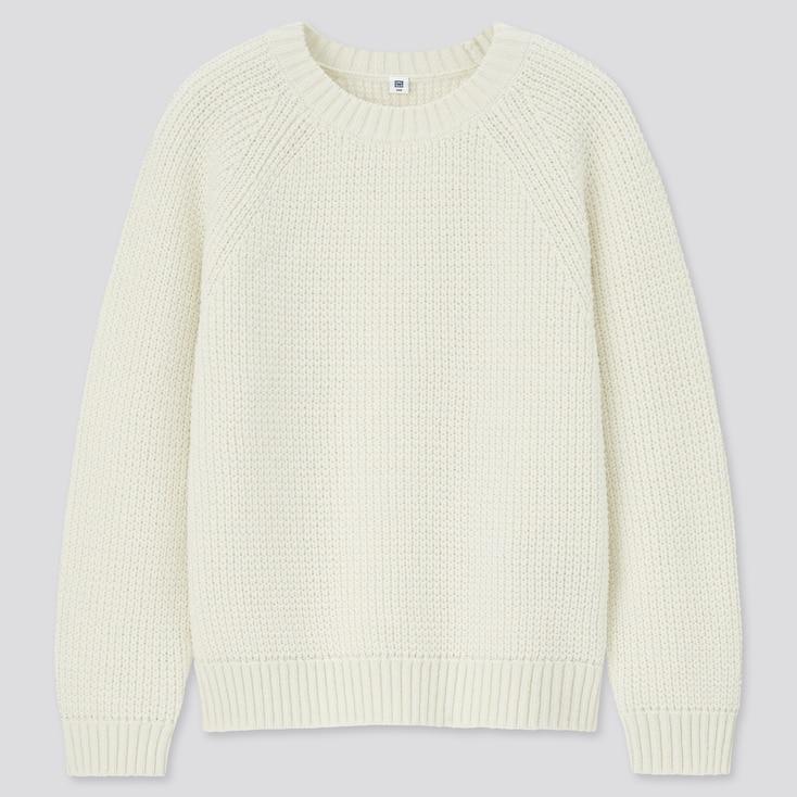 Kids Mid-Gauge Long-Sleeve Sweater, Off White, Large