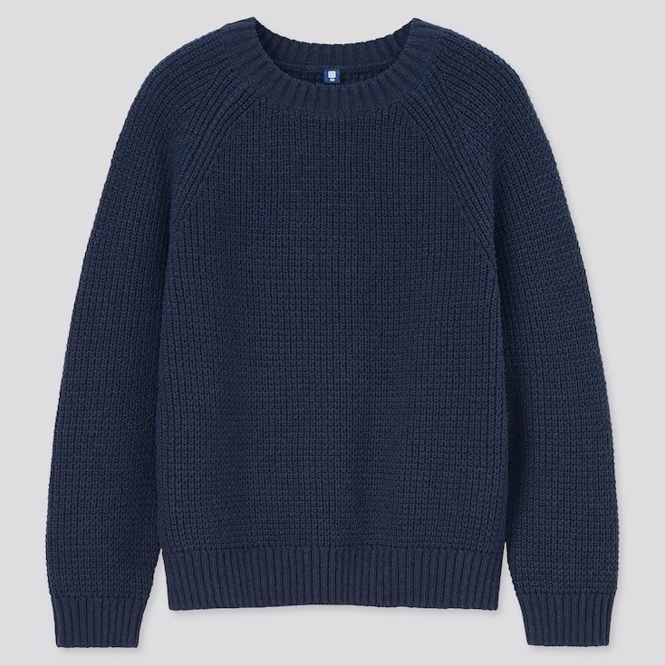 Kids Mid-Gauge Long-Sleeve Sweater, Navy, Large