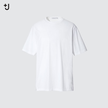 Men +J Supima Cotton Relaxed-Fit Crew Neck T-Shirt, White, Medium