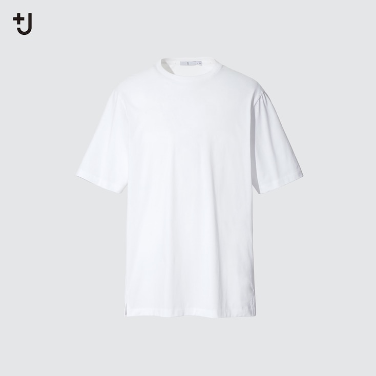 Men +J Supima Cotton Relaxed-Fit Crew Neck T-Shirt, White, Large