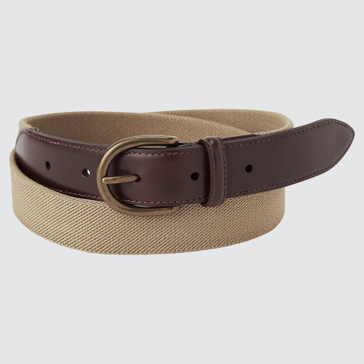 Men Leather Combination Stretch Belt, Beige, Large
