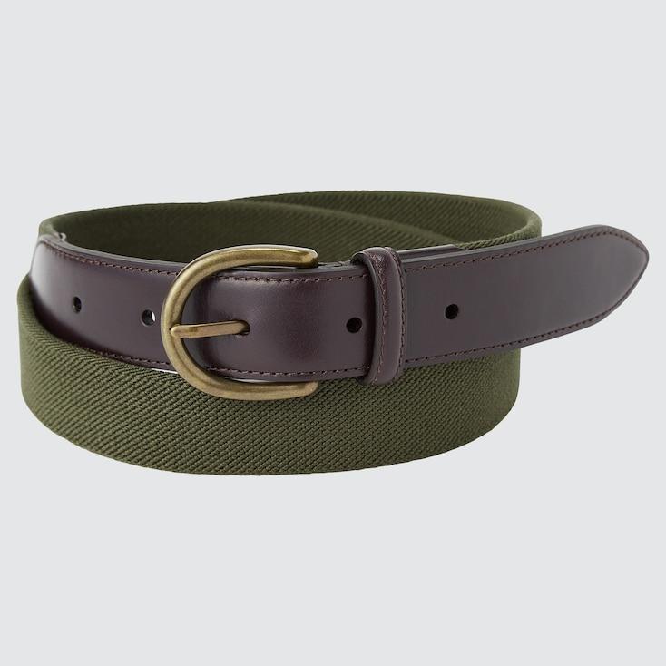Men Leather Combination Stretch Belt, Olive, Large