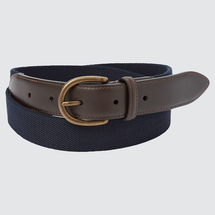 Men Leather Combination Stretch Belt, Navy, Large
