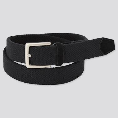 Men Suede Combination Stretch Belt, Black, Medium