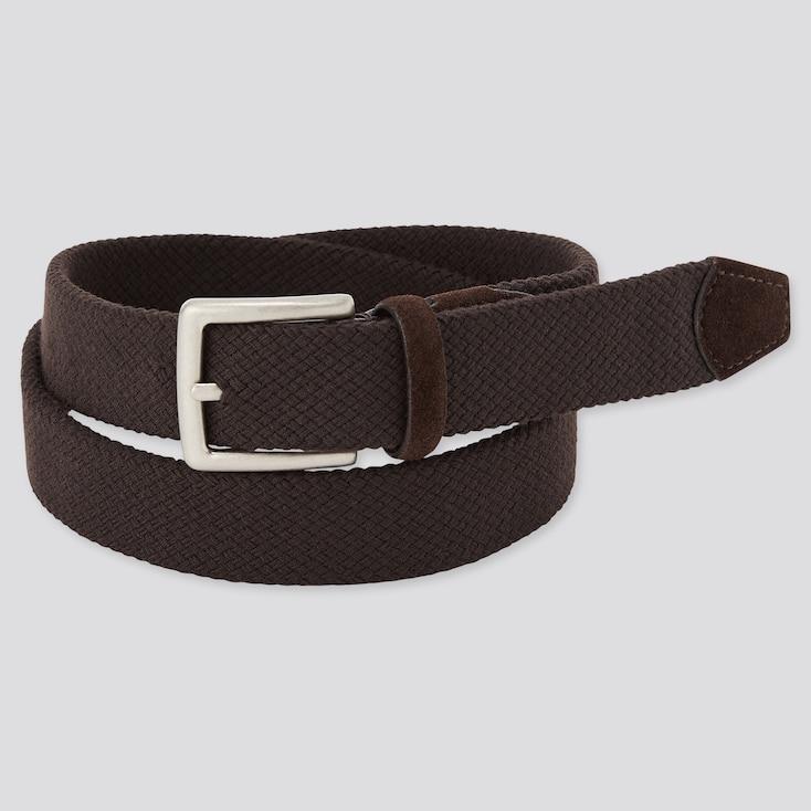 Men Suede Combination Stretch Belt, Dark Brown, Large