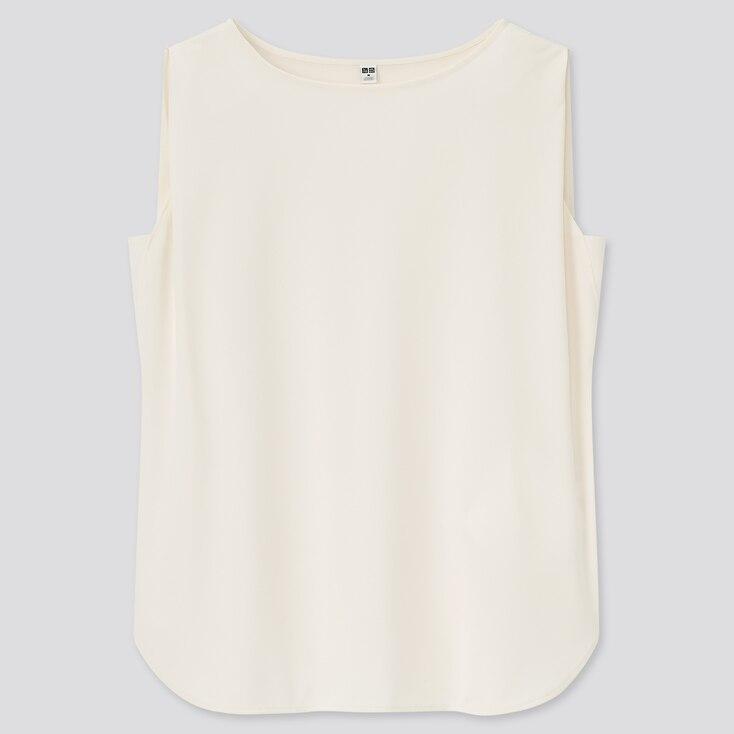 Women Crepe Jersey Sleeveless T-Shirt, Off White, Large