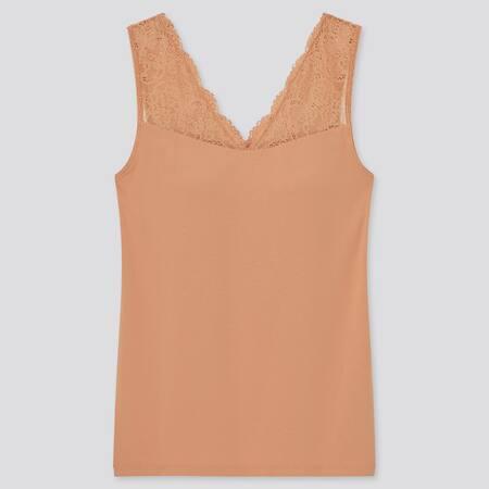 Damen Ärmelloses Modal Baumwoll BH-Top mit V-Ausschnitt und Spitze