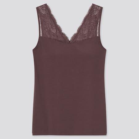 Women Modal Cotton Blend Lace V Neck Sleeveless Bra Top