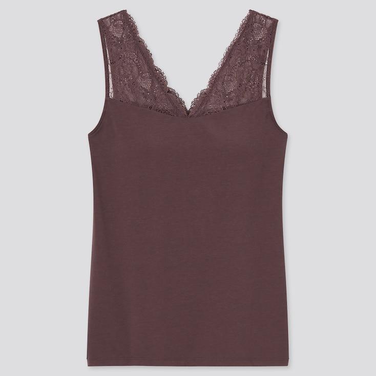 Women Modal Cotton Lace V-Neck Sleeveless Bra Top, Dark Brown, Large