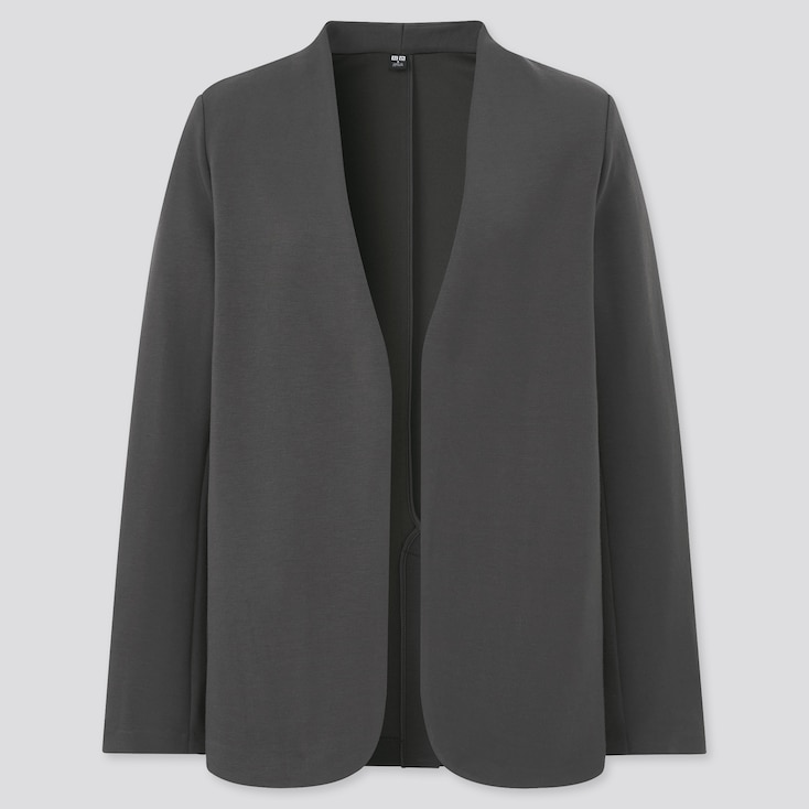 Women Stretch Double Face Jacket, Dark Gray, Large