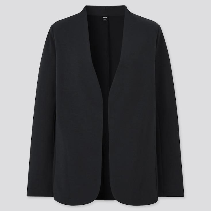 Women Stretch Double Face Jacket, Black, Large