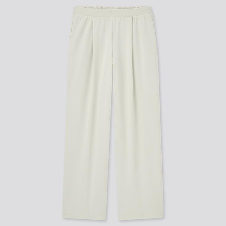 Women Crepe Jersey Straight Pants, Light Gray, Large