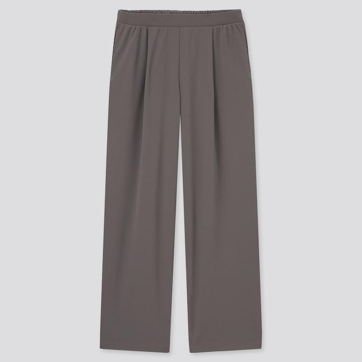 Women Crepe Jersey Straight Pants, Gray, Large