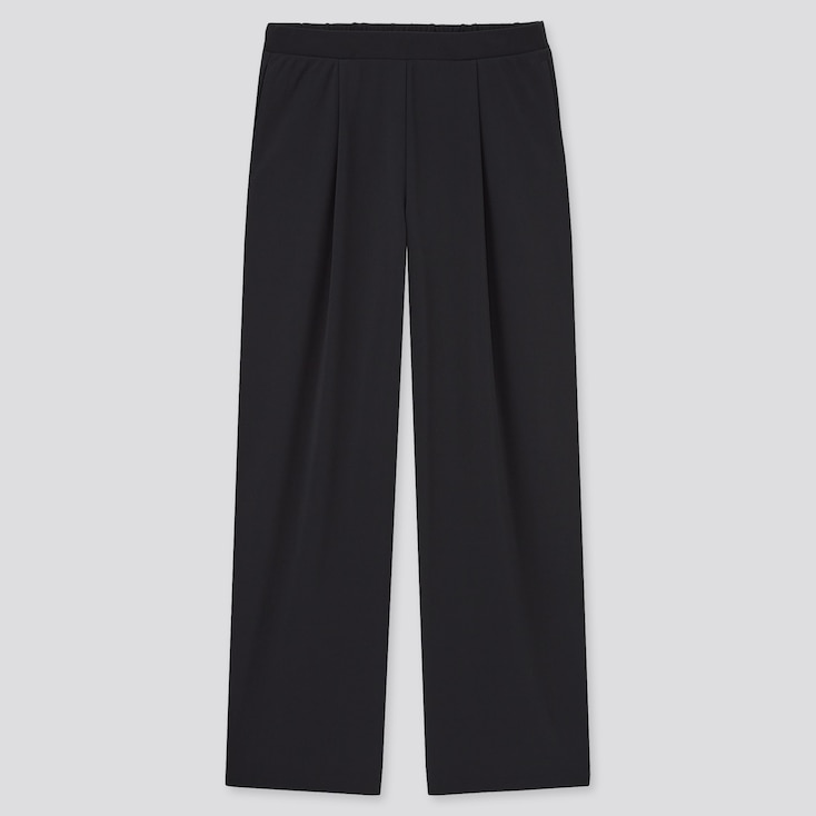 Women Crepe Jersey Straight Pantsÿ, Black, Large