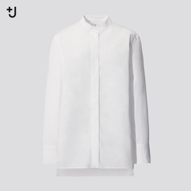 Women +J Supima Cotton Stand Collar Shirt